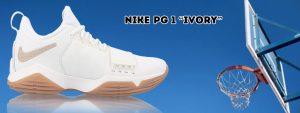 El upper de la zapatilla Nike PG 1, esta compuesto del material de construcción de piel sintética y perfil, en la parte superior es de color blanco con capas de gamuza